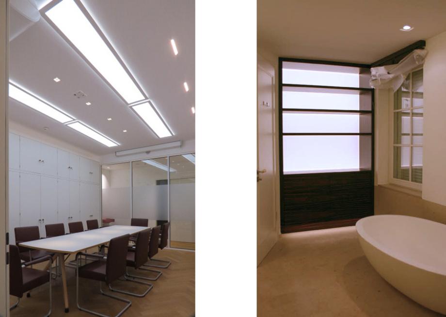 LED-Flächenlicht Module BASIC-W als Raumbeleuchtung im Besprechungszimmer eines Büros und als Lichtregal in einem Badezimmer