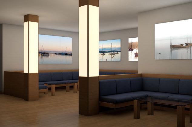 LED-Flächenlicht Frameless im Innenausbau - Lounge Bar - LED-Lichtbilder