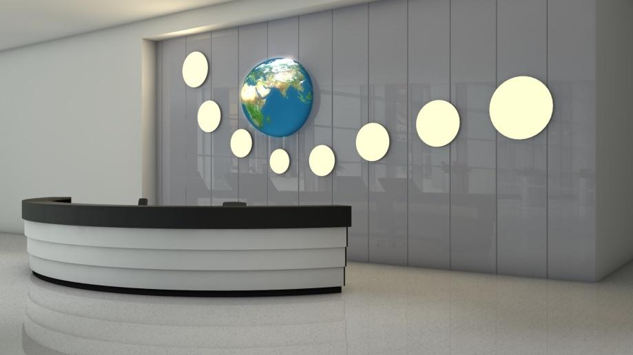 LED-Flächenlicht Frameless Wandleuchten in einer Empfangshalle