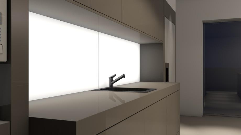 LED-Flächenlicht FRAMELESS im Einsatz als Küchenrückwand