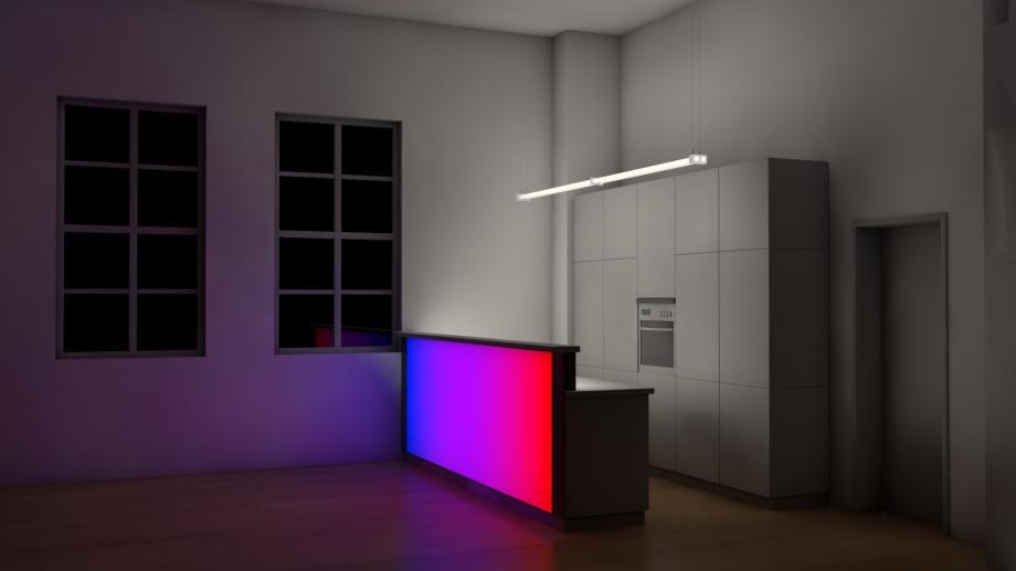 LED-Flächenlicht RGB dynamisch - Einbau in einer Küchentheke